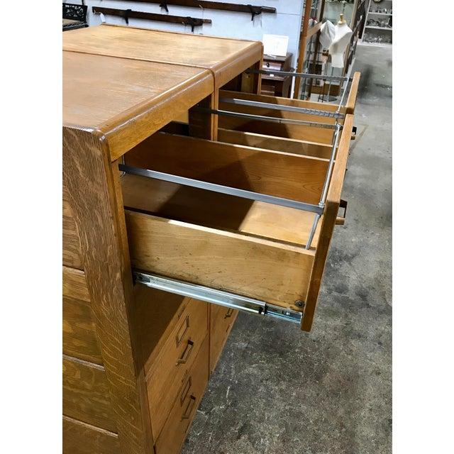 Metal Antique Library Bureau Sole Makers Tiger Oak Double Filing Cabinet For Sale - Image 7 of 8