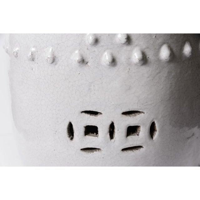 White Antique Chinese White Glazed Crackled Terra Cotta Garden Stool For Sale - Image 8 of 13