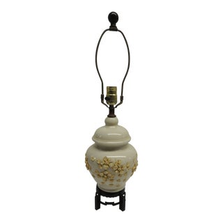 Chinese Bisque Export Yellow and Cream Floral Ceramic Table Lamp For Sale