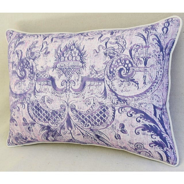 Lavender & White Italian Fortuny Mazzarino & Velvet Pillow - Image 6 of 9