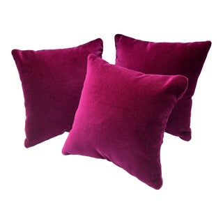 "Modern Fuchsia Pink ""Baby Loves"" Designer Velvet 8"" Pillows - Set of 3, Custom Made For Sale"