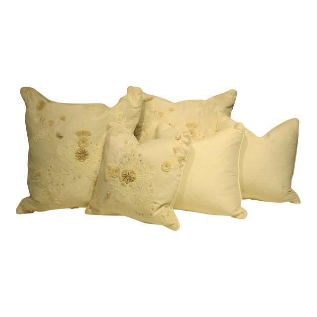 White & Tan Decorative Pillows - Set of 5 - Image 1 of 7