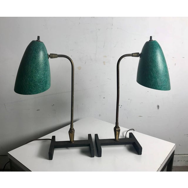 Matching pair of Modernist task/desk Lamps. Amazing green spun exposed fiberglass shades, adjustable brass fittings and...