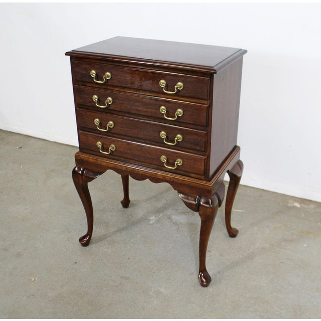 Offered is a Chippendale cherry silver chest attributed to Statton 'Old Town'. Features dovetailed drawers with gold tone...