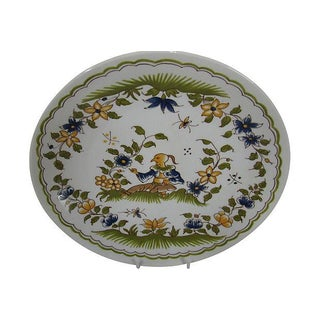 French Mid Century Porcelain Moustiers 18c Style Plate Preview