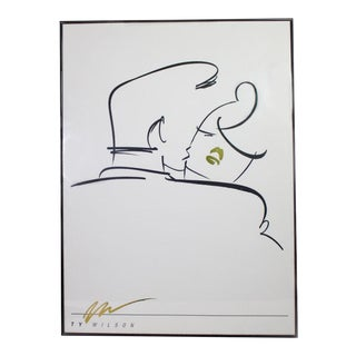 "1980's Post-Modern Abstract Line Art ""Embrace"" by Ty Wilson Print in Black, White, Gold - Framed For Sale"