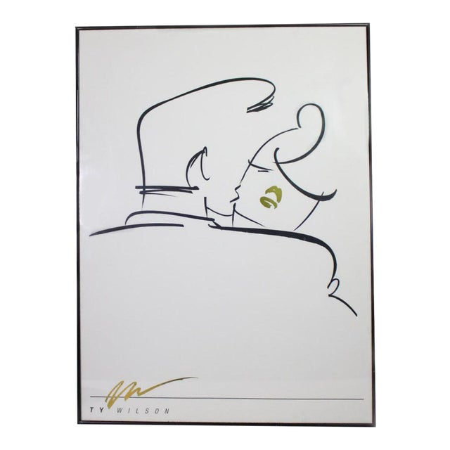 """1980's Post-Modern Abstract Line Art """"Embrace"""" by Ty Wilson Print in Black, White, Gold - Framed For Sale"""