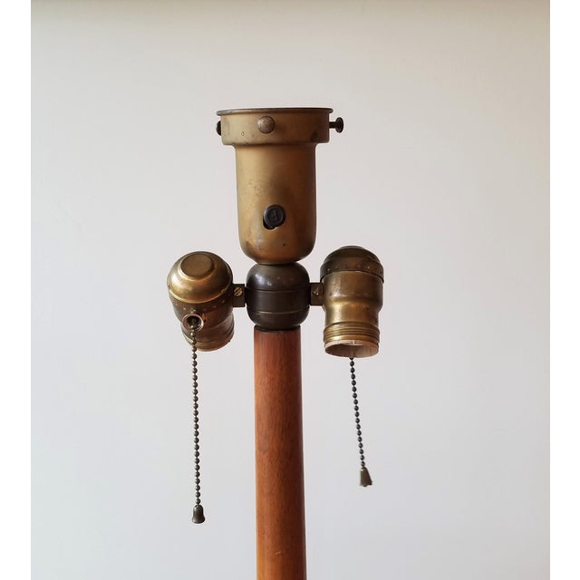 Brown 1940s Edward Wormley Snack Table/Floor Lamp for Dunbar For Sale - Image 8 of 11