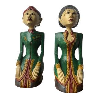 Vintage Colorful Kneeling Javanese Loro Blonyo Solid Wood Statues For Sale