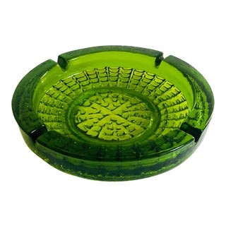 Large Mid Century Green Art Glass Ashtray For Sale