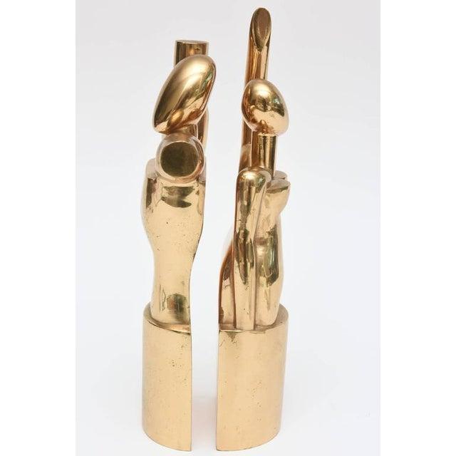 "Art Deco Modernist Bronze Signed ""Man & Woman"" Cubist Sculptures For Sale - Image 3 of 10"