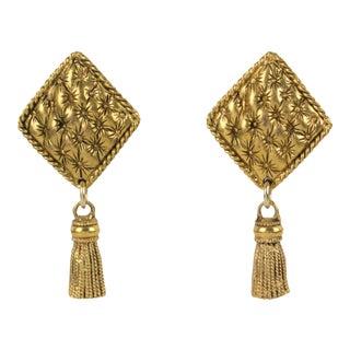 Chantal Thomass Paris Dangling Clip Earrings Gilt Metal Matelassé & Tassel For Sale