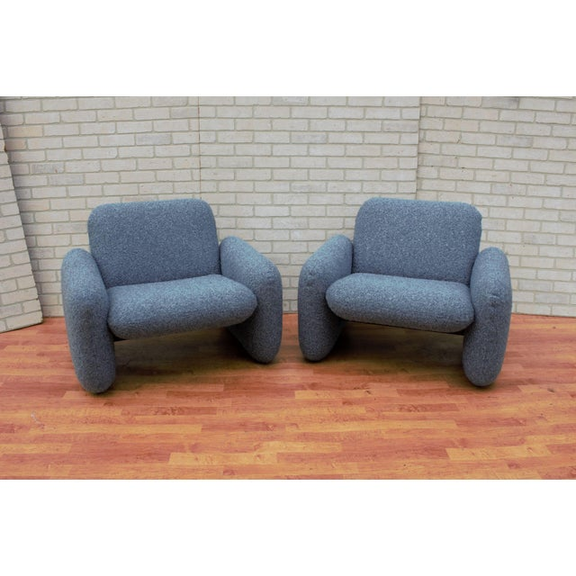 Mid Century Modern Ray Wilkes for Herman Miller Blue Chiclet Lounge Chairs - a Pair For Sale - Image 9 of 9