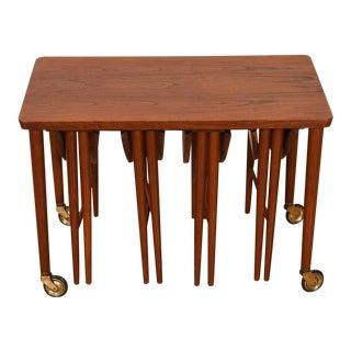 Danish Modern Teak Rolling Cart W/ Nesting Drop Leaf Accent Tables For Sale