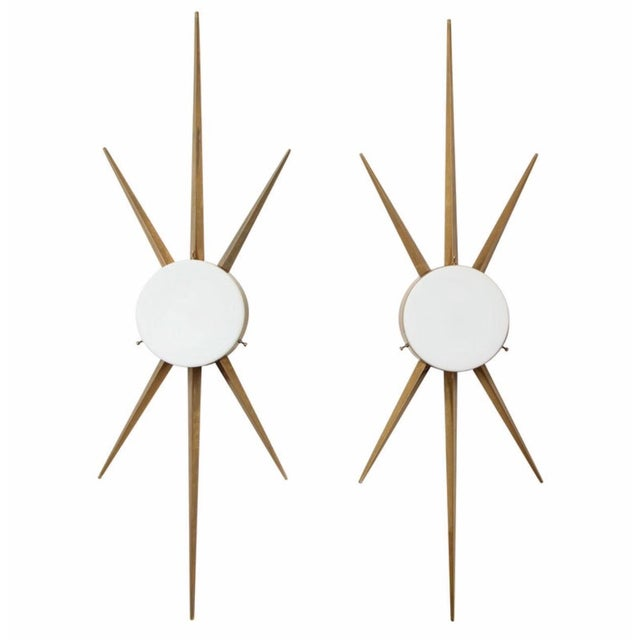 Metal Vintage Gio Ponti Style Italian Brass and Glass Sconce / Flush Mount - a Pair For Sale - Image 7 of 7