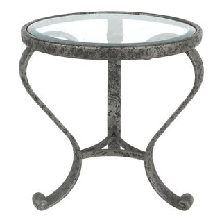 80s Aluminum Side Table W/ Beveled Glass - Pair Available For Sale