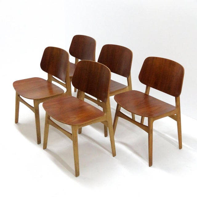 Brown Set of 5 Børge Mogensen Dining Chairs, 1950s For Sale - Image 8 of 13