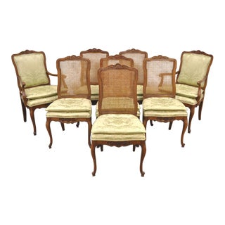 1970s Vintage Kindel French Country Louis XV Style Cane & Walnut Dining Chairs- Set of 8 For Sale