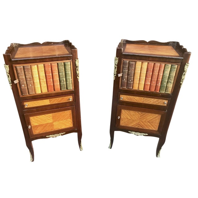 1940s French Faux Book Side Tables - a Pair For Sale