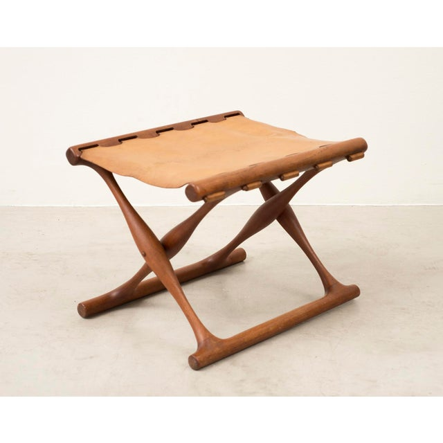 Mid-Century Modern Pair of Teak and Leather Gold Hill Stools by Poul Hundevad, Denmark, 1950s For Sale - Image 3 of 13