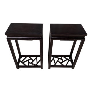 Vintage Chinese Ming Style Rosewood End Tables - a Pair For Sale