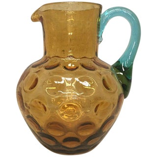 20th Water Jug or Glass Pitcher in Yellow and Blue Murano Glass For Sale