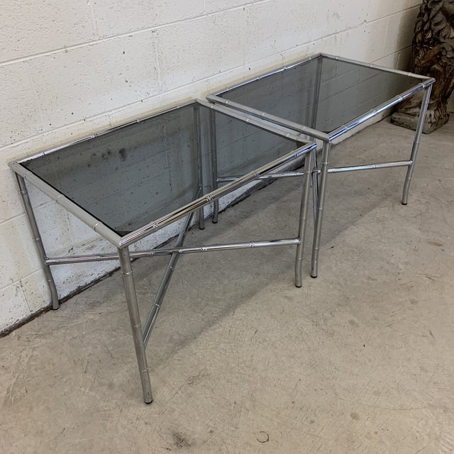 Hollywood Regency 70s Faux Bamboo Chrome and Smoke Glass End Tables - a Pair For Sale - Image 3 of 13