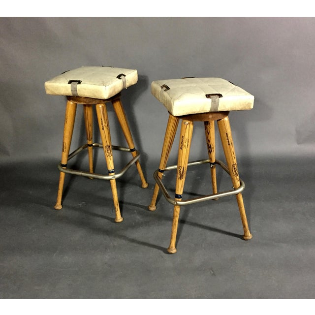 """Pair 1980s Baseball Bat 31.5"""" Stools, Vintage Plate Seats For Sale - Image 10 of 10"""