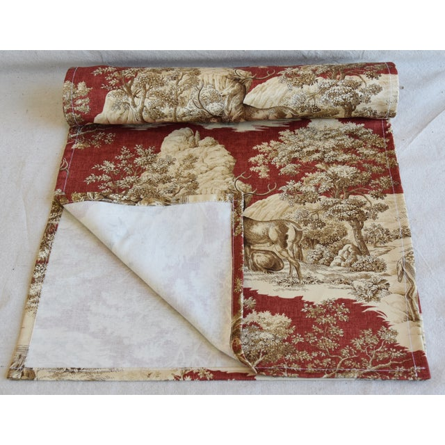 "English Custom Woodland Nature Deer & Fawn Toile Table Runner 110"" Long For Sale - Image 3 of 7"
