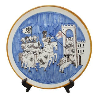 Italian Rampini Gubbio Holy Crusades Hand Painted Battle Scene Charger Plate For Sale