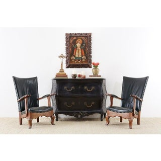Pair of Spanish Oak and Leather Studded Lounge Chairs Preview