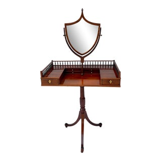 Antique English Gentleman's Dressing Table Vanity With Mirror For Sale