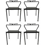 Image of Set of Four Post Modern Black Leather Dining Chairs by Cidue For Sale