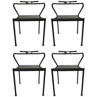 Set of Four Post Modern Black Leather Dining Chairs by Cidue For Sale