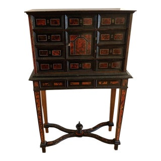 Antique Tortoise Inlaid Flemish Vargueno Chest on Stand For Sale