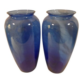 Blenko Blue Glass Vases - A Pair