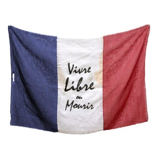 Antique Embellished Flag of France, Vivre Libre Ou Mourir For Sale