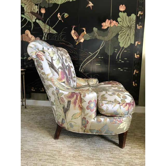 1940s 1940s Pullman Armless Floral Silk Upholstered Slipper Chairs - a Pair For Sale - Image 5 of 13