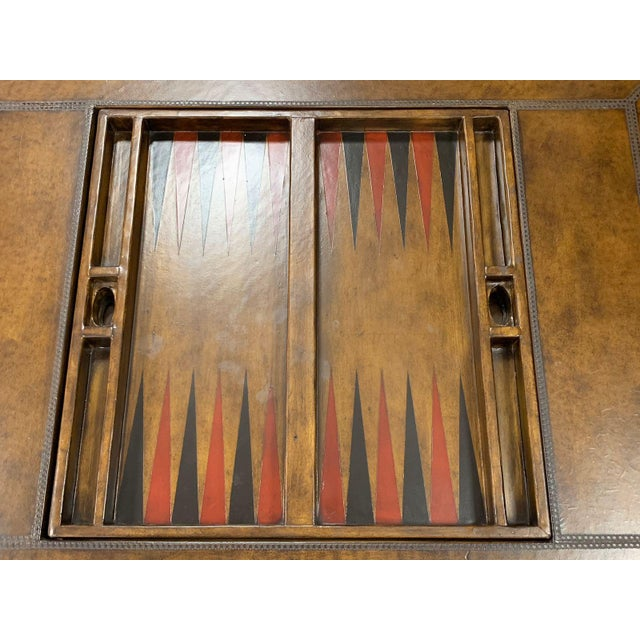 Maitland - Smith Maitland-Smith Leather Game Table For Sale - Image 4 of 10