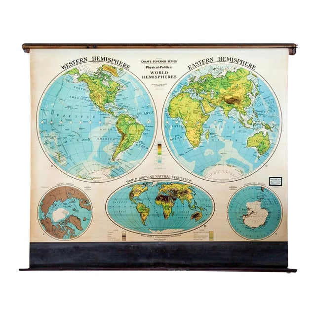 Vintage crams pull down map of world hemispheres chairish vintage crams pull down map of world hemispheres gumiabroncs Choice Image