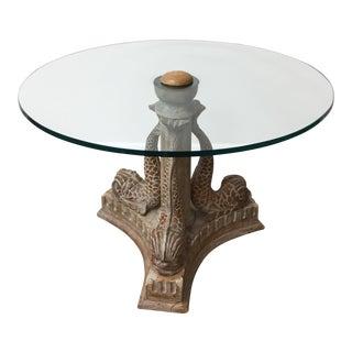 Vintage Cerused Hand Carved Wood Koi Table