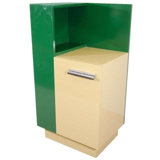 Amazing Donald Deskey Art Deco Skyscraper Side Cabinet in Deep Green & Yellow For Sale