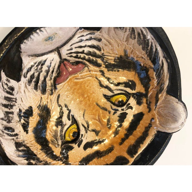 Vintage Italian Ceramic Tiger Dish Bowl Wall Hanging Decor For Sale - Image 4 of 7