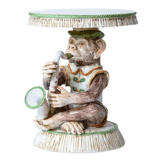 Monkey Musician Terra-Cotta Glazed Garden Stool, Italy For Sale