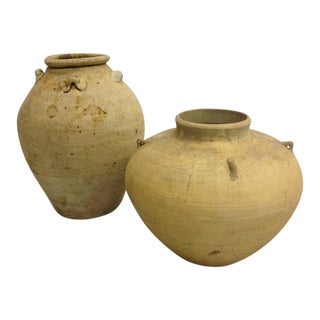 Two Ancient Khmer Urns or Vases