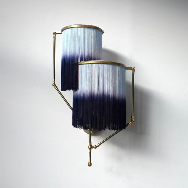 Blue Charme sconce lamp, Sander Bottinga Dimensions: 50 x W 38 x D 27 cm. Hand-sculpted in brass, leather, wood and dip...