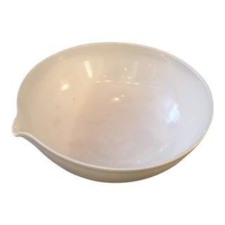 Contemporary Scandinavian White Ceramic Thumbprint Bowl