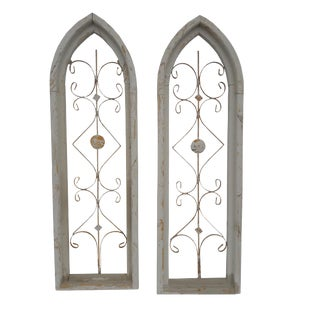 Rustic Farmhouse Cathedral Grill Shabby Window Wall Hangings - a Pair For Sale