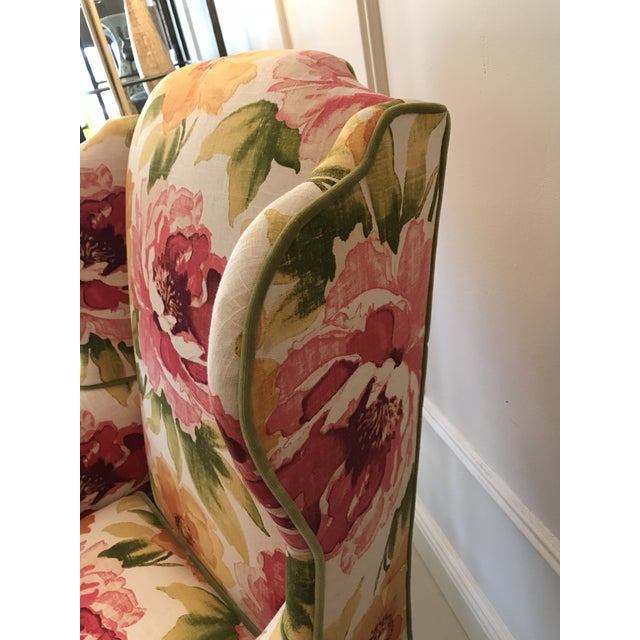 Floral Linen Wing Chairs - A Pair For Sale - Image 5 of 8