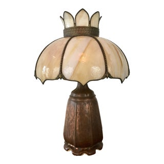 Handel Signed Arts & Crafts Bronze Panel Table Lamp With Tortoise Style Tiffany Shade For Sale